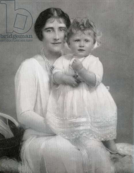 Elizabeth Bowes-Lyon, future Queen Elizabeth, with her daughter Princess Elizabeth, future Queen Elizabeth II, in 1927