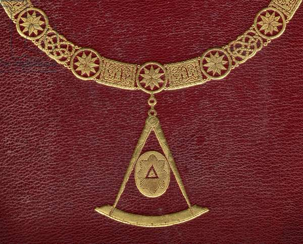 Detail of the cover of 'The History of Freemasonry, volume I', published by Thomas C. Jack, London, 1883 (photo)