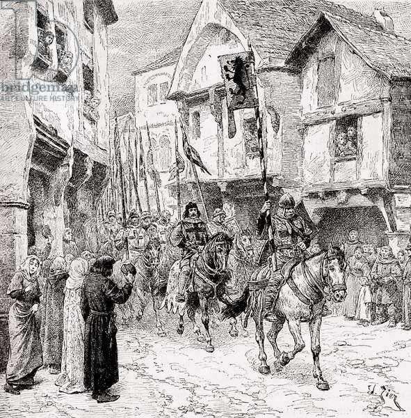 Crusaders on route for the Holy Land (engraving)