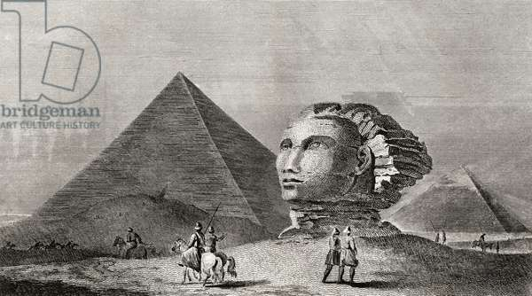 The first and second pyramid of Gizah, Ancient Memphis, and head of the Colossal Sphinx, Egypt. Engraved by Scott after Clennell