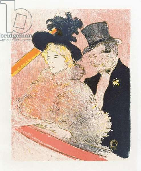 At Les Decadents.  Poster by Toulouse-Lautrec.