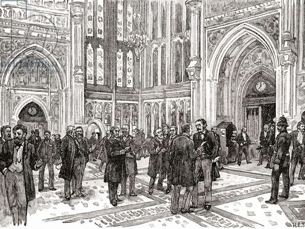 The member's lobby, The House of Commons, Westminster Palace, London, England in the 19th century.