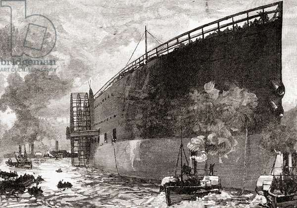 The launch of the SS Great Eastern in 1858.