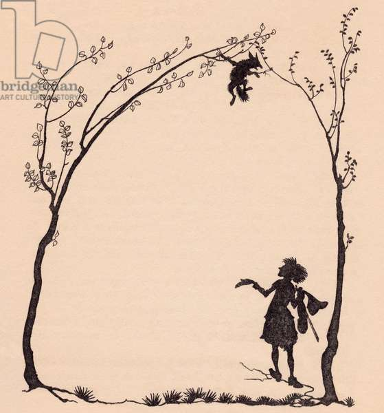 A fox tied by his paws to two hazel trees.  Illustration by Arthur Rackham from Grimm's Fairy Tale, The Wonderful Musician.