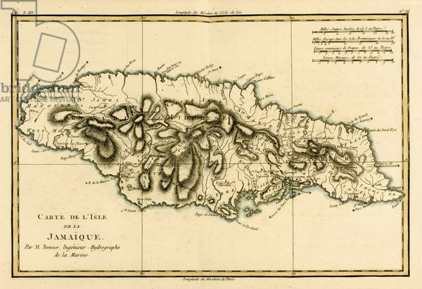 The Island of Jamaica, from 'Atlas de Toutes les Parties Connues du Globe Terrestre' by Guillaume Raynal (1713-96) published 1780 (coloured engraving)