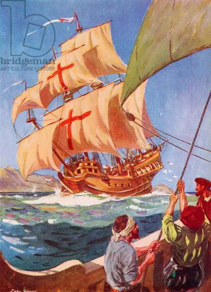 Christopher Columbus leaving the coast of Spain in his flag ship the Santa Maria on his first voyage to the New World, 1492, from The Great Explorers Columbus and Vasco Da Gama