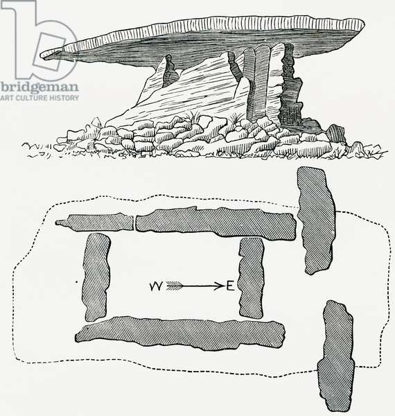 Chûn Quoit, Cornwall, England, side view and ground plan, from Our Own Country published 1898