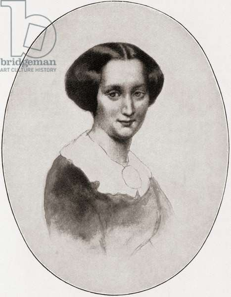 Mathilde Wesendonck,  1828 – 1902.  German poet and author. Best known as the friend and possible paramour of Richard Wagner.  After the drawing by Kietz.  From Wagner, published 1935.