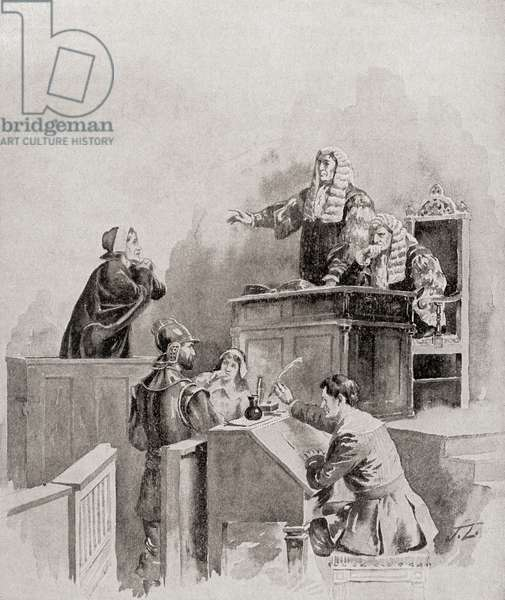 A scene in the courtroom during The Salem witch trials of 1692.  From The History of Our Country, published 1899