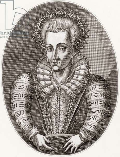 Anne of Denmark, 1574 –1619. Queen consort of Scotland, England and Ireland as the wife of King James VI of Scotland who was also King James I of England and Ireland.   From Iconographia Scotica or Portraits of Illustrious Persons of Scotland, published 1797.