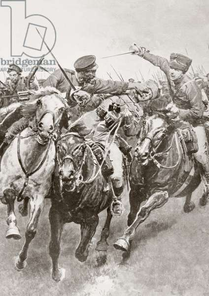 Mounted combat between Russian cossacks and German cavalry known as the Hussars of Death en Schwansfeld, between Korschen and Bartenstein, Eastern Prussia, August 1914 during the First World War, from La Esfera, 1914