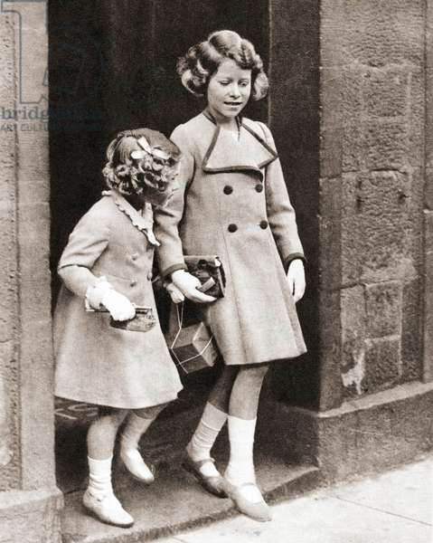 Princess Elizabeth, right, and her sister Princess Margaret in 1935, from The Coronation Book of King George VI and Queen Elizabeth, pub.1937