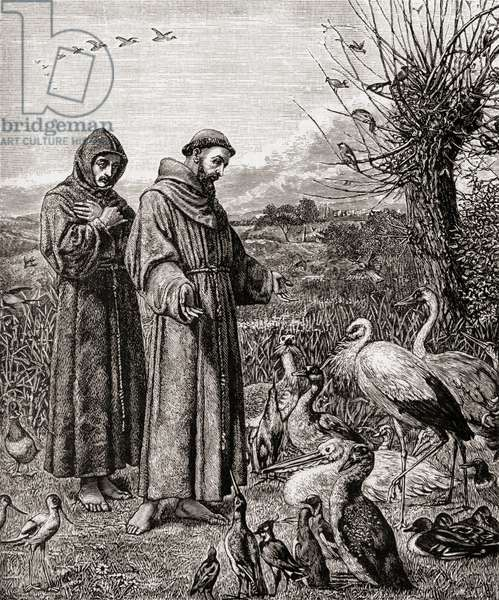 Saint Francis of Assissi, c. 1181-1226. Founder of the Franciscan Order. St. Francis preaching to the birds. From the picture by H. Stacy Marks.