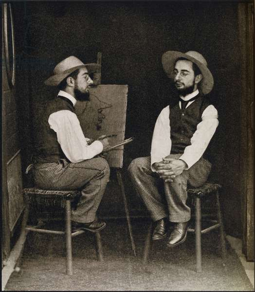 Double portrait of Toulouse-Lautrec, from 'Toulouse-Lautrec' by Gerstle Mack, published 1938 (b/w photo)