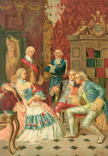 Madame de Pompadour holding court in French society, 18th century, after a 19th century print.