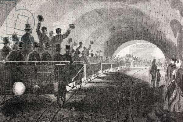 Trial run of train in London Underground in 1862, from 'The Universal Museum', published 1862 (engraving)