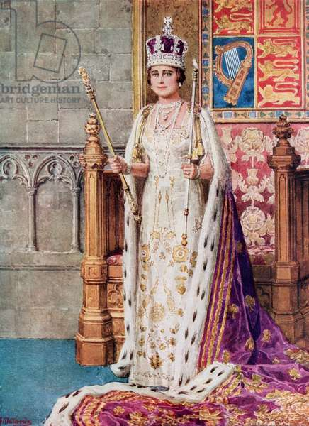 Queen Elizabeth in coronation robes, 1936, from The Coronation Book of King George VI and Queen Elizabeth, pub.1937