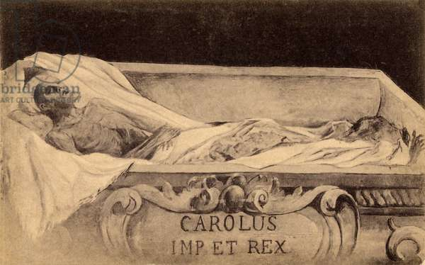 Postcard of the mummy of Charles V in the Escorial, Madrid (litho)