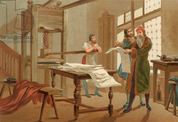 Gutenburg printing the first page of the Bible, 1439, after a 19th century print.