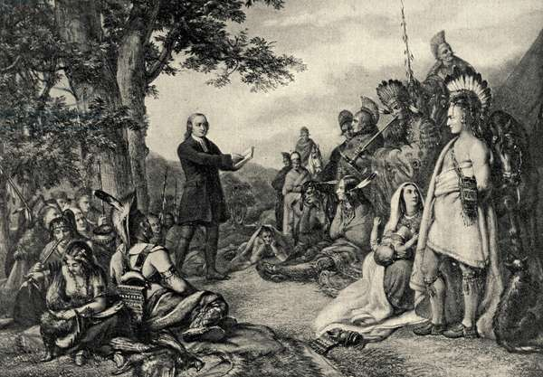 John Wesley preaching to the Indians in Georgia in 1736 (engraving)
