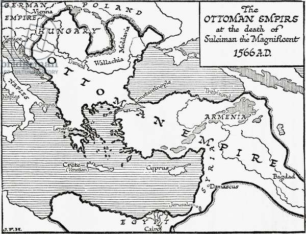 Map showing the Ottoman Empire at the death of Suleiman the Magnificent, 1566, 1936