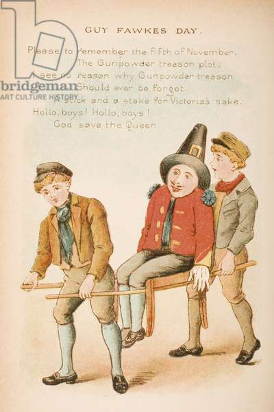 Guy Fawkes Day, from 'Old Mother Goose's Rhymes and Tales', published by Frederick Warne & Co., c.1890s (chromolitho)