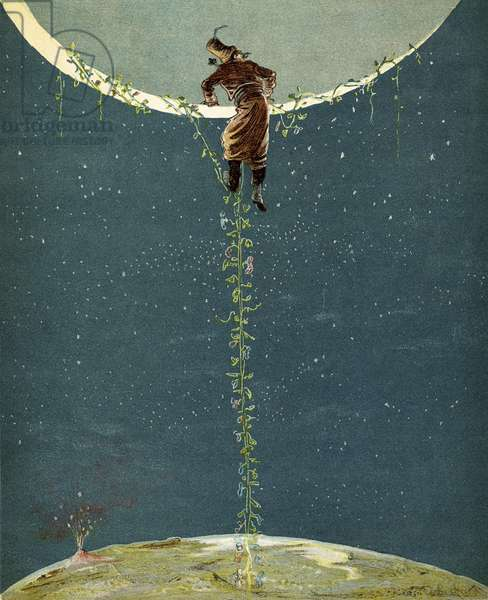 Baron Munchausen climbs up to the moon by way of a Turkey bean plant, from 'The Adventures of Baron Munchausen' by Rudolf Erich Raspe (1736-94) published c.1886 (colour litho)