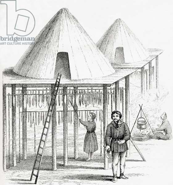 A Balagan or summer hut in the Kamchatka Peninsula, Russia in the 18th century