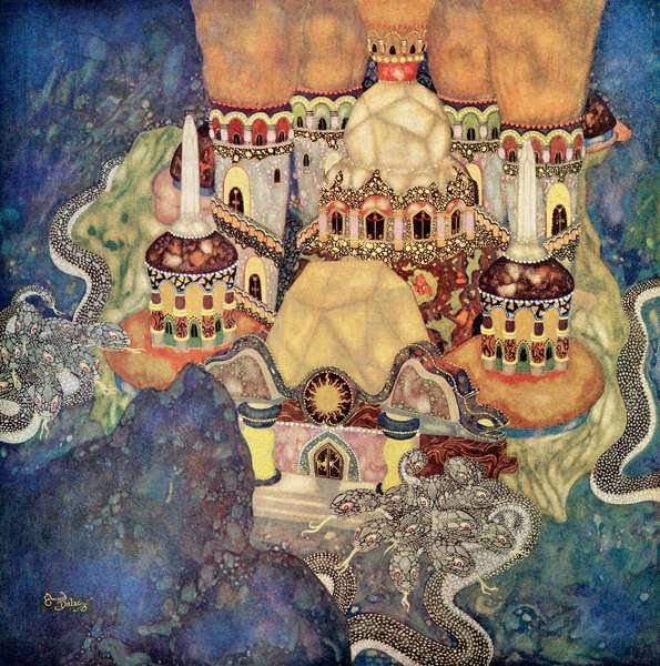 """""""The Palace of the Dragon King"""", illustration from the Serbian fairytale The Story of Bashtchelik, from Edmund Dulac's Fairy-Book: Fairy Tales of the Allied Nations, pub.1916 (watercolour on paper)"""