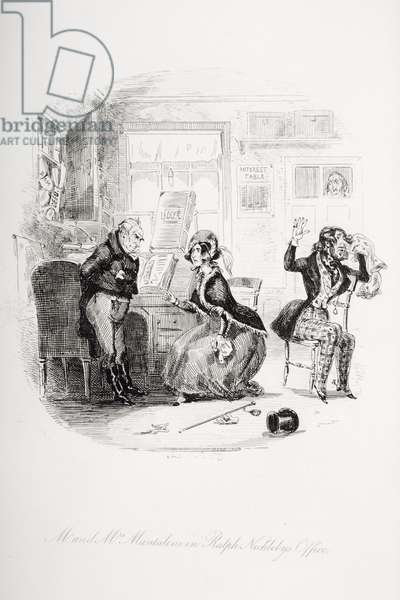 Mr. and Mrs. Mantalini in Ralph Nickleby's office                                                          Abetween Sir Mulberry and his pupil, illustration from `Nicholas Nickleby' by Charles Dickens (1812-70) published 1839 (litho)