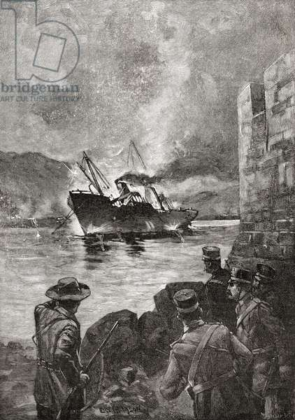 The sinking of the USS Merrimac, 2 June 1898, during the Spanish–American War.