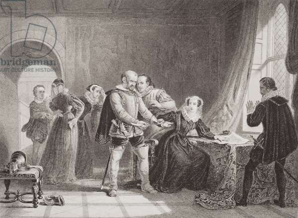 Mary Queen of Scots (1542-87) compelled to sign her abdication in Lochleven Castle in 1567, from 'Illustrations of English and Scottish History' Volume I (engraving)