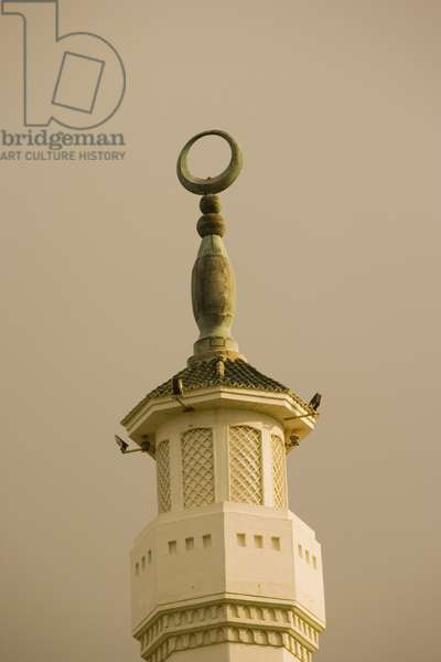 Detail of the Minaret of Mosque of the Custodian of the Two Holy Mosque, Europa Point (photo)