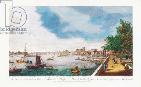 A View From Somerset Gardens to Westminster Bridge, engraved by John Miller, 1750 (coloured engraving)