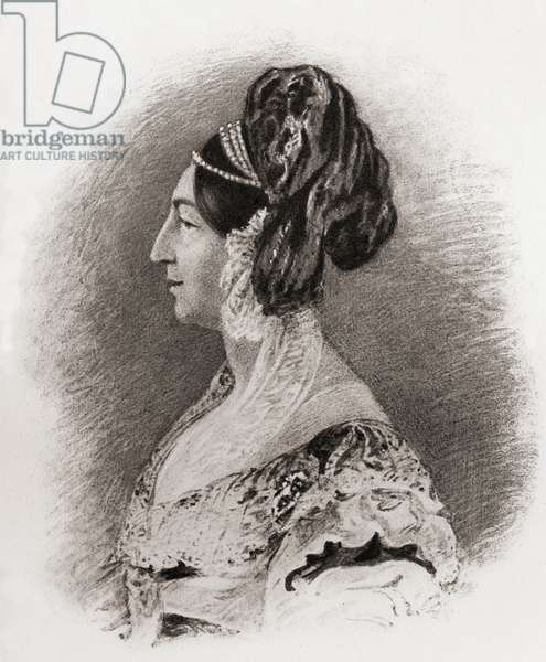 """Princess Sophia Matilda of Gloucester, 1773-1844.  Daughter of William Henry 1st. Duke of Gloucester.  From a portrait by Dalton after Sir.G.Hayter.  From the book """"The Girlhood of Queen Victoria 1832-1840 Vol II"""" published 1912."""