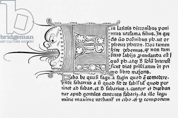 Facsimile of a page from 'Catholicon', printed by Johannes Gutenberg, Mainz, 1460 (litho)