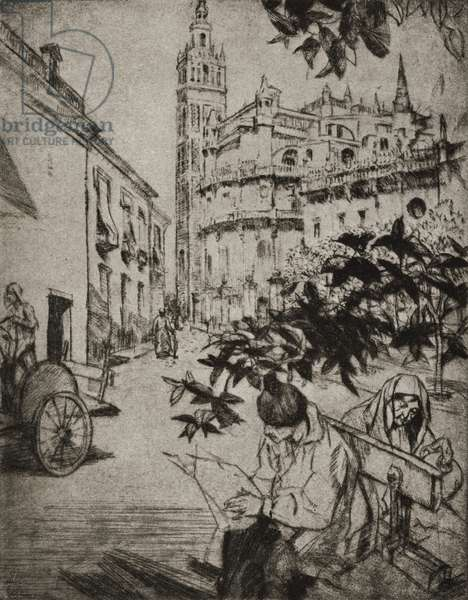 View of Seville Cathedral (litho)