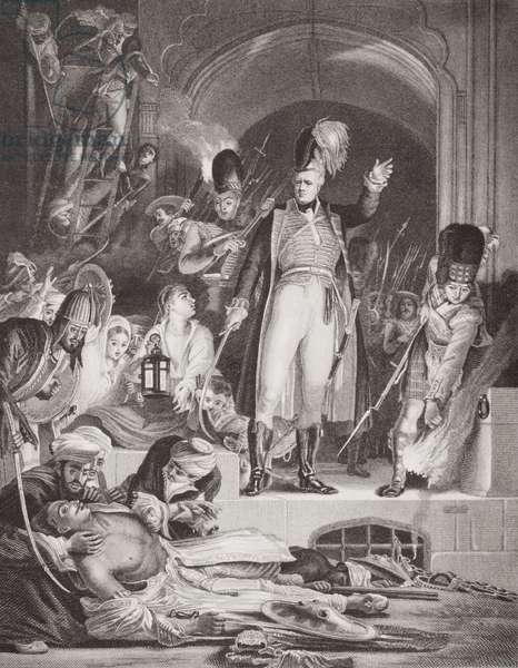 Sir David Baird (1757-1829) discovering the body of Tippoo Sultan (1744-99) after the capture of Seringapatam, 4 May 1799, from `Illustrations of English and Scottish History' Volume II (engraving)