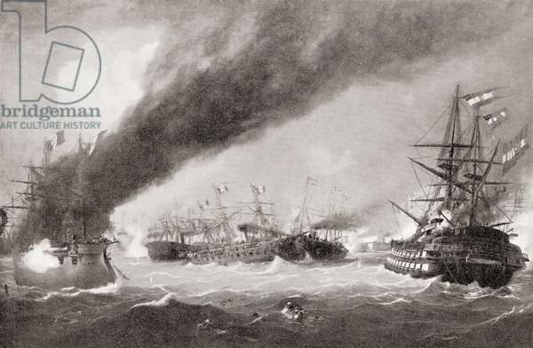 The Sea Battle of Lissa aka Battle of Vis, 20 July 1866, between Italy and the Austrian Empire, from Hutchinson's History of the Nations, pub. 1915
