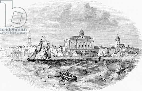 A view of Charlestown, Boston, Massachusetts, United States of America in the 18th century.