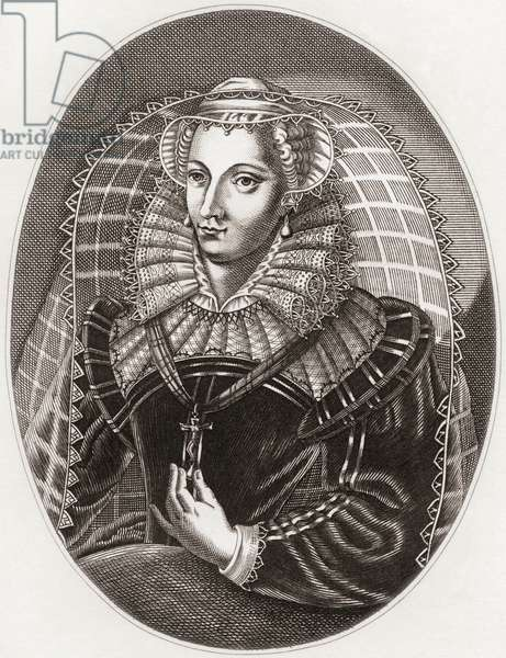 Mary, Queen of Scots,  1542 –1587, aka Mary Stuart or Mary I of Scotland.  Queen regnant of Scotland from 14 December 1542 to 24 July 1567 and queen consort of France from 10 July 1559 to 5 December 1560.  From Iconographia Scotica or Portraits of Illustrious Persons of Scotland, published 1797.