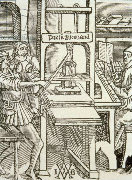 Printing Press of 1498, from a book printed in that year (engraving)
