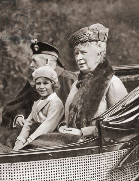 Princess Elizabeth with her grandparents, George V and Queen Mary of Teck, from The Coronation Book of King George VI and Queen Elizabeth, pub.1937
