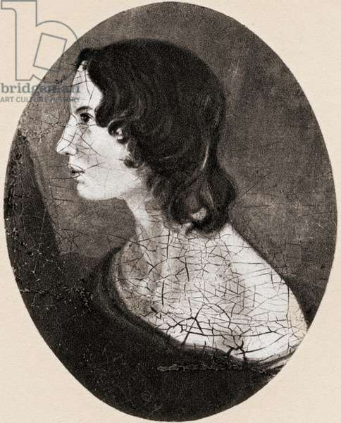 Emily Jane Brontë, 1818 -1848. English novelist and poet.  After a painting by her brother Branwell Brontë.  From Impressions of English Literature, published 1944.