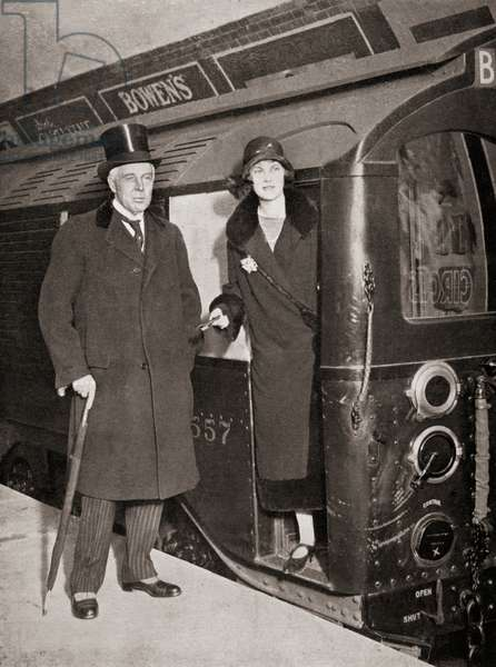 Albert Henry Stanley, 1st Baron Ashfield, 1874 – 1948, born Albert Henry Knattriess.  British-American businessman who was managing director, then chairman of the Underground Electric Railways Company of London.  Seen here with his daughter Marian, after driving the first train at the re-opening of the reconstructed City and South London Tube.  From Kings of Commerce, published 1928