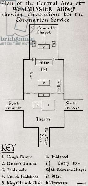 Plan of the central area of Westminster Abbey showing dispositions for the Coronation Service of George VI in 1936v, from The Coronation Book of King George VI and Queen Elizabeth, pub.1937