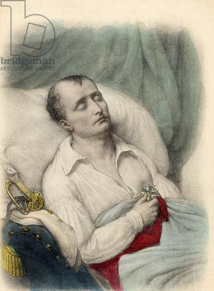 Napoleon I on his death bed holding the Cross of the Legion of Honour to his heart, St. Helena, 1821 (colour litho)
