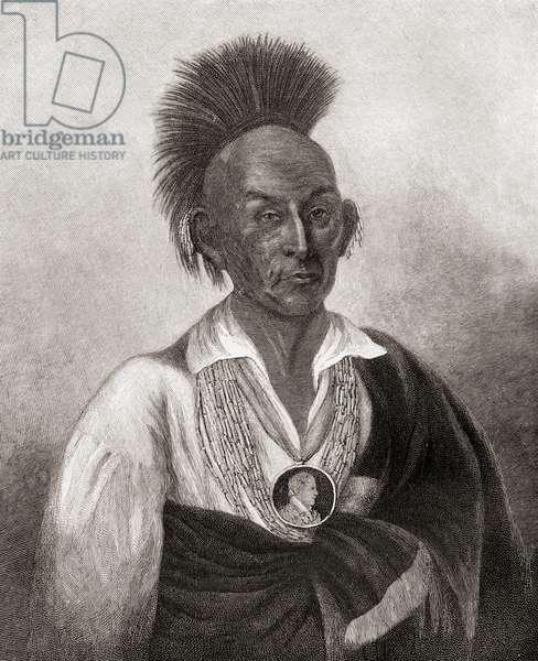 Black Hawk, born Ma-ka-tai-me-she-kia-kiak, 1767 –1 838.  War leader and warrior of the Sauk American Indian Tribe.  From The Century Magazine, published 1887.