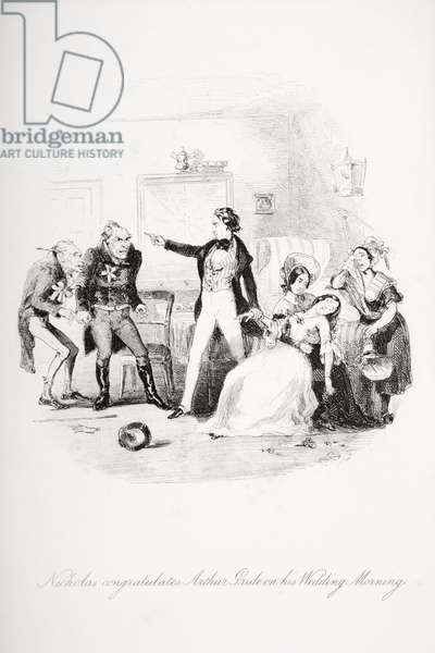 Nicholas congratulates Arthur Gride on his wedding morning, illustration from `Nicholas Nickleby' by Charles Dickens (1812-70) published 1839 (litho) (see also 259152)