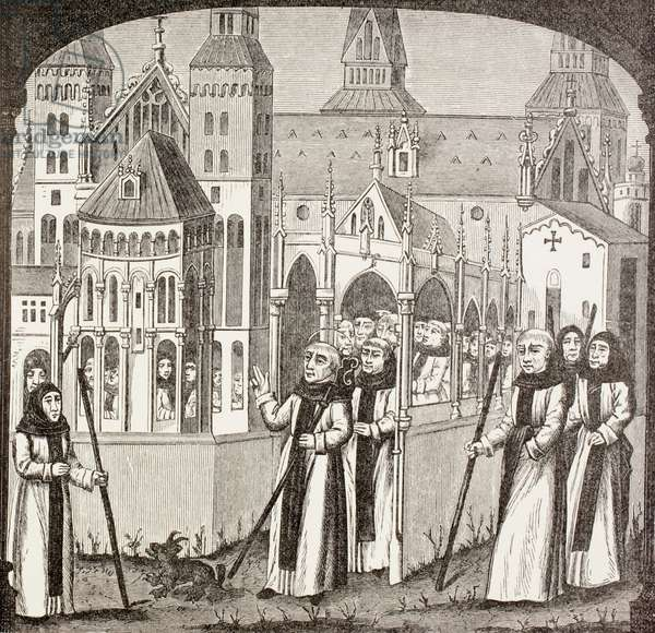 St. Bernard of Clairvaux and the Cistercian monks taking possession of the Abbey of Clairvaux, from 'Military and Religious Life in the Middle Ages' by Paul Lacroix, published London c.1880 (litho)